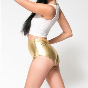 American Apparel Metallic Gold Lame Short Shorts M